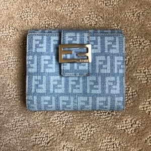 Authentic Fendi Zucchino style mini wallet